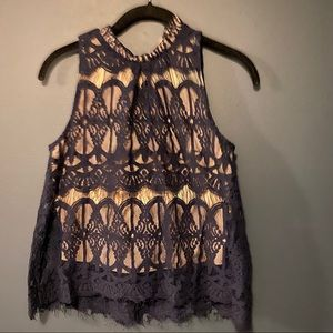 Love, fire Sleeveless top w/ navy lace overlay